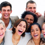Group of happy business people laughing
