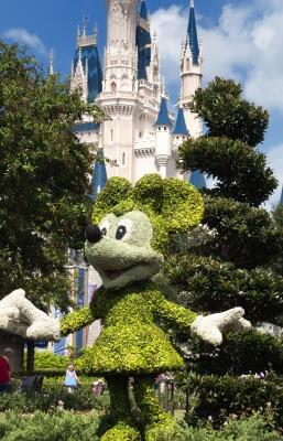 Disney's mini mouse, pristinely trimmed bush replica
